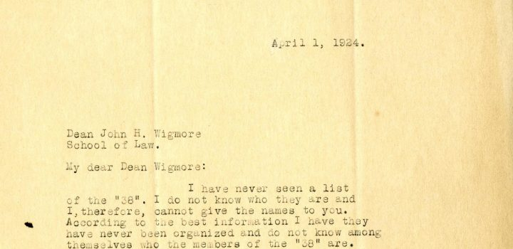 Letters to Wigmore, 1925. From Walter Dill Scott and College of Liberal Arts Dean Raymond Kent, in response to Wigmore's requests to track down students who had not signed.