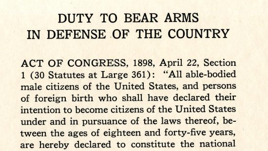 Duty to Bear Arms in Defense of the Country, pledge pamphlet, 1924