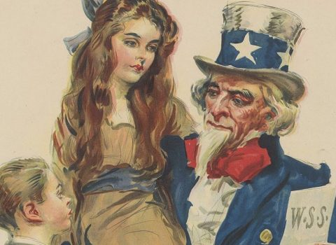 """Boys and girls! You can help your Uncle Sam win the war – save your quarters, buy War Savings Stamps."" James Montgomery Flagg: 1917; War Saving Stamps."