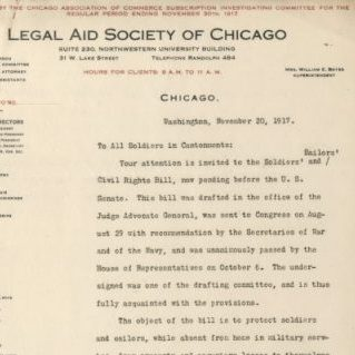 Letter from Wigmore for the Legal Aid Society of Chicago, 20 November 1917