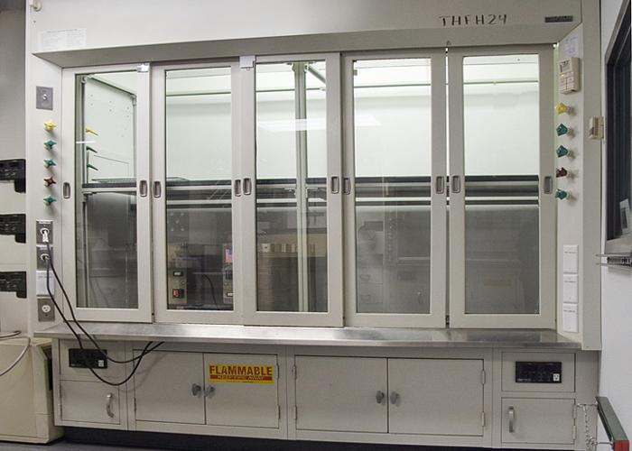 Specially built fume hood to house up to eight tube furnaces.
