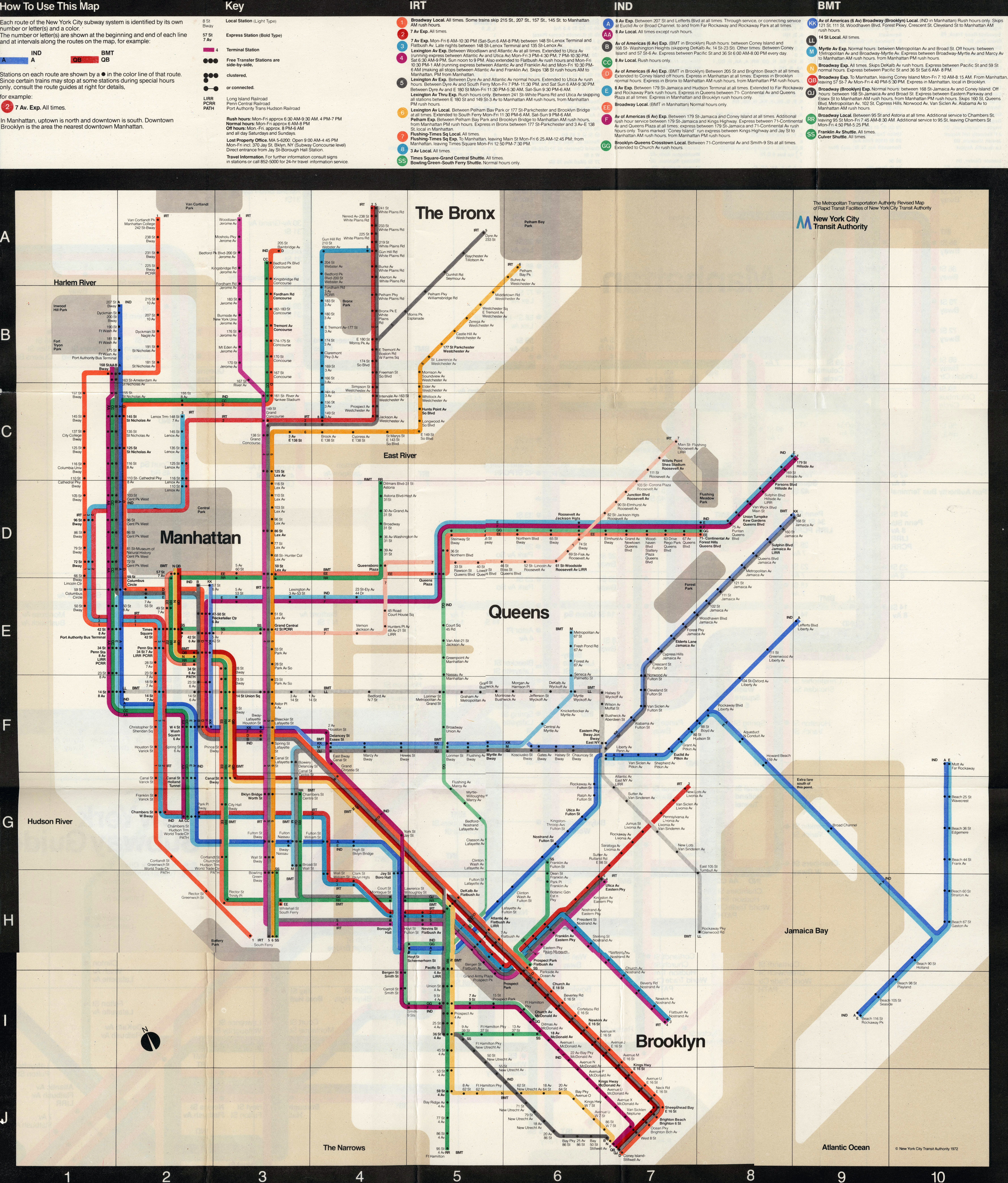 1958 New York Subway Map.New York City Transit Authority On Board With Design