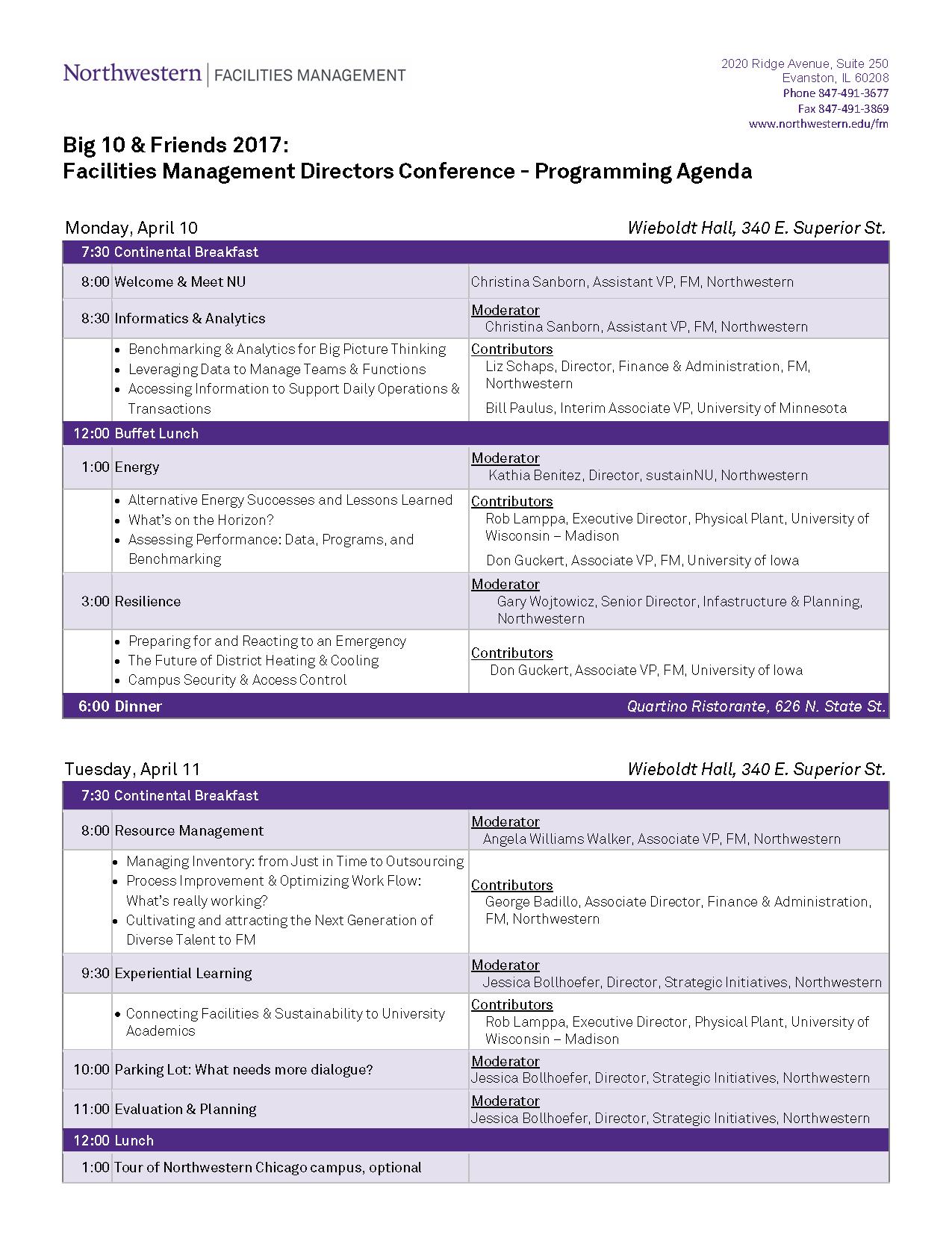 Conference Agenda – Big 10 + Friends Facilities Management Directors ...
