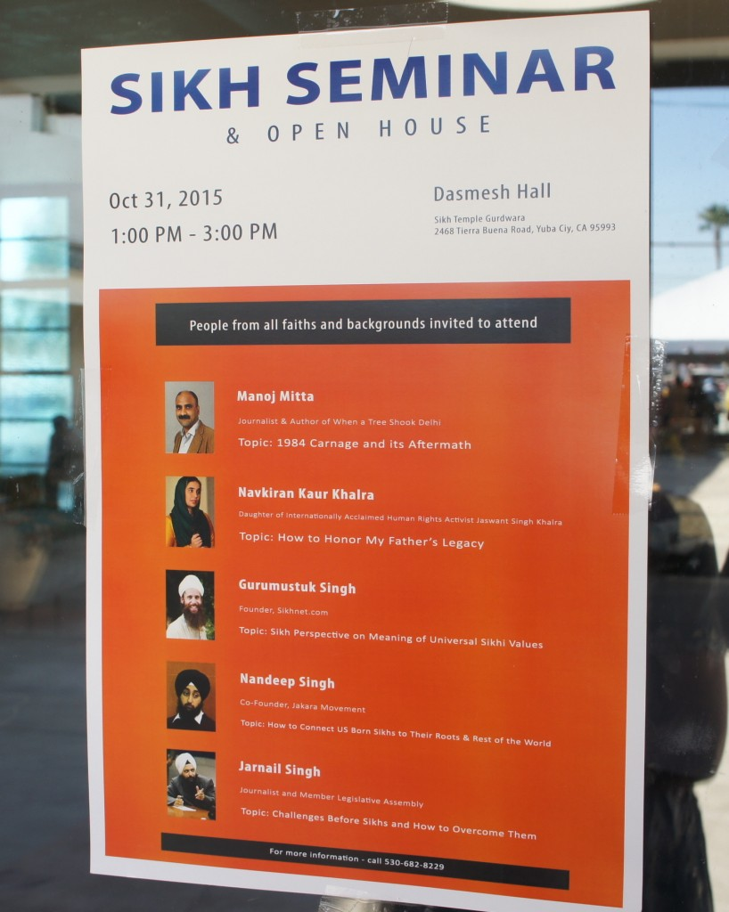 Sikh Seminar and Open House, October 31, 2015, 1 PM to 3 PM (though it ran until 4:30). The speakers: Delhi Journalist Manoj Mitta, Activist Daughter Navkiran Kaur Khalra, Sikhnet.com Founder Gurumustuk Singh, Jakara Movement Co-founder Jakara Movement, and Journalist Jarnail Singh.