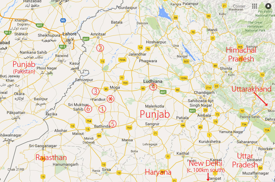 A map of Punjab indicating where desecration events took place, starting October 12 and continuing over the few days. 1: Bargari, Faridkot district (mentioned above) 2: Kohrian, Faridkot district 3: Mishriwala, Ferozepur district 4: Ludhiana 5: Gurusar Mehraj, Bathinda district 6: Sarai Naga, Muktsar district *: Baghapurana, Moga district