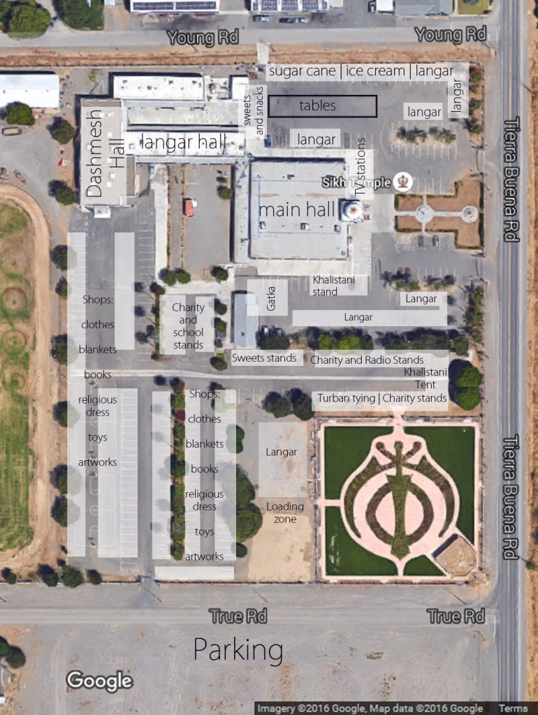 An annotated overhead view of the Yuba City Sikh Temple grounds, made possible by Google.