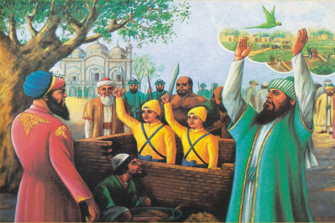 Painting of Jorawar and Fateh Singh chanting the Sikh cry for victory (jakara) as a brick wall is being built around them.