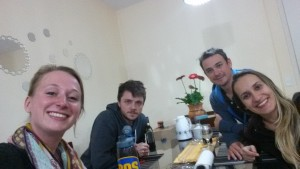 Enjoying dinner and conversations in Portuñol-glish with my Brazilian friends Juliana and Douglas, and their Spanish friend Pablo