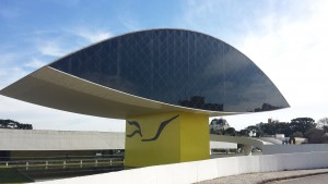 Oscar Niemeyer Museum shaped like a giant eye (you can see some people to the left for scale)