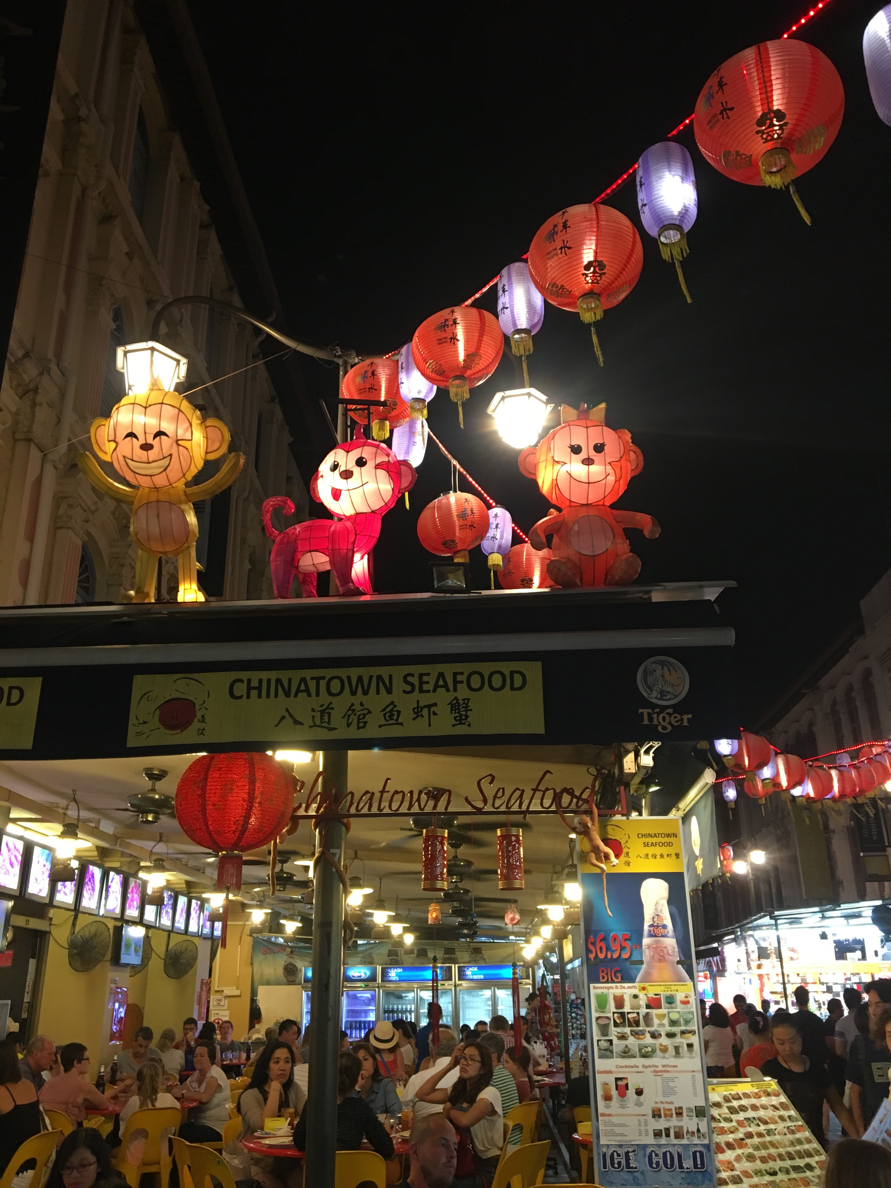 """Exploring Disney-esque Chinatown. I went to the """"50 cents fest"""" where you can try any number of Chinese dishes for just 50c each at food stalls."""