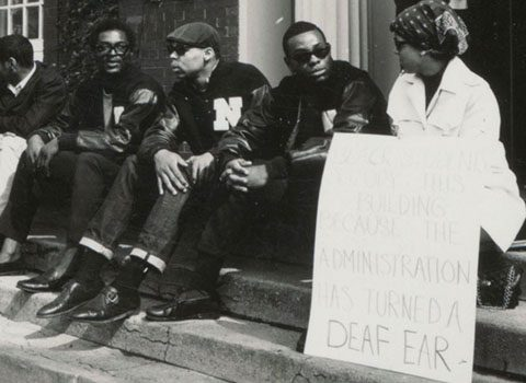 Black Northwestern University students on the steps of the Bursar's Office, May 3, 1968