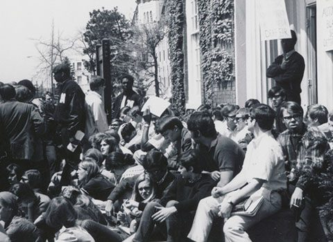 Northwestern University Students join in solidarity with members of For Members Only (FMO) and Afro-American Student Union (AASU), May 3, 1968