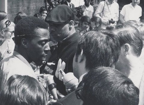 James Turner speaks with the press, May 3, 1968