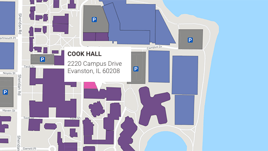 Northwestern Campus map showing Cook Hall