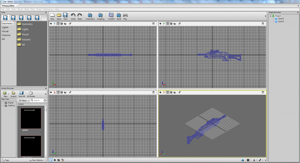 A view of the level editor with the quad-view, and a dummy model loaded to test the editor. The repeat icons are placeholders.