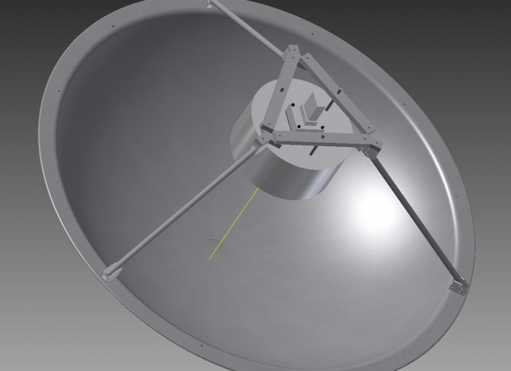 Rendering of the feed mount on the dish provided to us via PSU ARL. The feed mount allows for the horn to be adjusted in the z-axis via three threaded rods as seen on the structure.