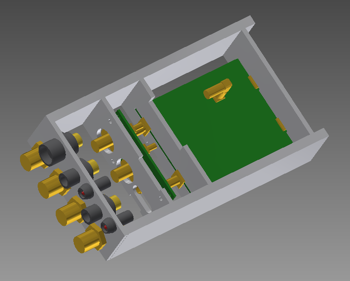 3D rendering of the preliminary case layout for the Yagi Front-End.