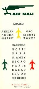 Air Mali Timetable July 1962