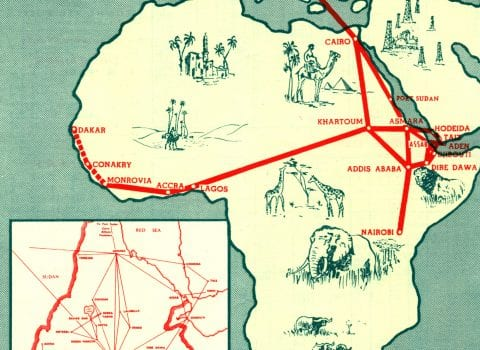 Ethiopian Airlines Route Map 1961