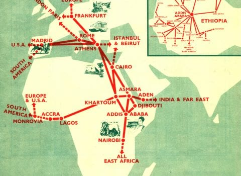 Ethiopian Airlines Route Map 1965