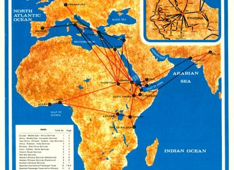 Ethiopian Airlines Route Map 1969