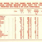Nigeria Airways 1961 timetable insert back