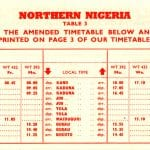 Nigeria Airways 1961 timetable insert
