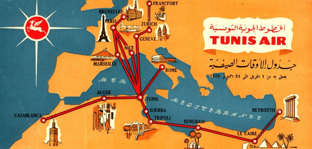 TunisAir Route Map 1965