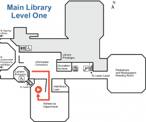 From the entrance to the Main University Library, walk down to the first level and turn right into 1 South. Continue to make right hand turns to wrap around 1 South until you reach the one Button Studio