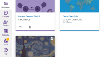 image of Canvas Dashboard with three courses with associated pictures - a panda, a map and a portion of Van Gogh's Starry Night painting.