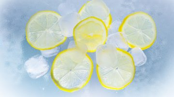 Picture of lemons in ice water.