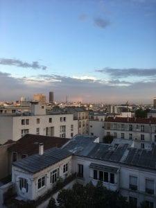 View from my homestay's balcony; rainbow Eiffel Tower-adjacent