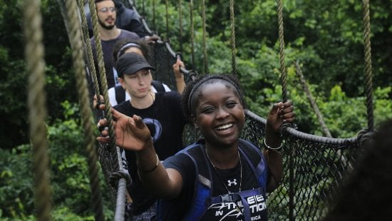 GESI 2018 students on a rope bridge