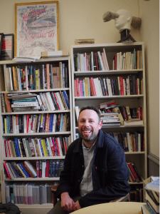 environmental portrait of English professor Harris Feinsod