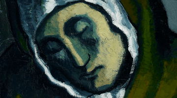 """Close up on Picasso painting """"La Misereuse accroupie"""""""