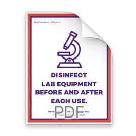 Disinfect lab equipment before and after each use