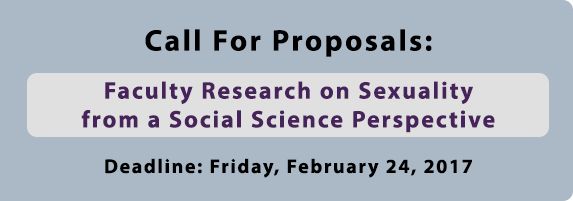 Call For Proposals: Faculty Research on Sexuality from a Social Science Perspective. Deadline: Friday, February 24, 2017