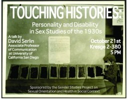 """Poster for """"Touching Histories"""" by David Serlin"""