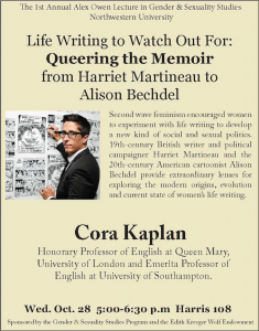 "Flyer for ""Life Writing to Watch Out For: Queering the Memoir from Harriet Martineau to Alison Bechdel"" by Cora Kaplan. Oct 28, 2015."