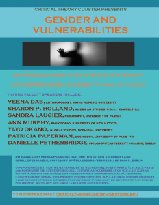 "Poster for ""Gender Vulnerabilities."" April 16-17, 2015."