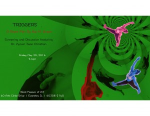 """""""Triggers"""" A Short Film by Kai M. Green. Screening and Discussion featuring Dr. Aymar Jean Christian. Fri, May 20, 2016. Block Museum of Art."""