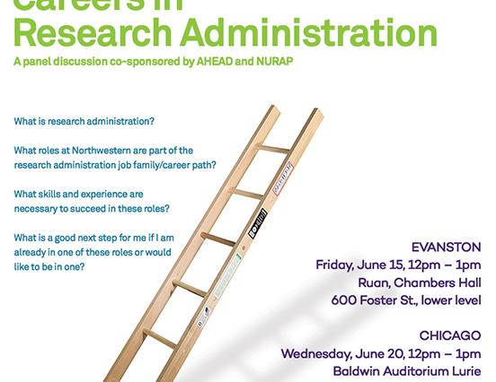 AHEAD/NURAP flyer for Careers in Administration program in June 2018
