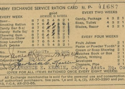 Ration card with markings