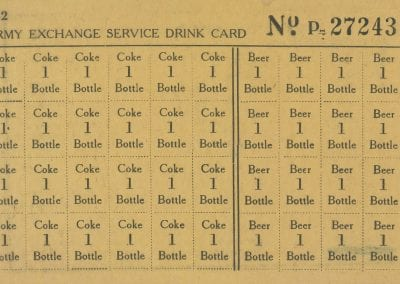 Drink card for beer and Coke