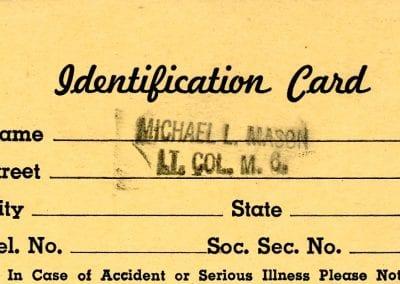 Identification card of Col. Michael L. Mason