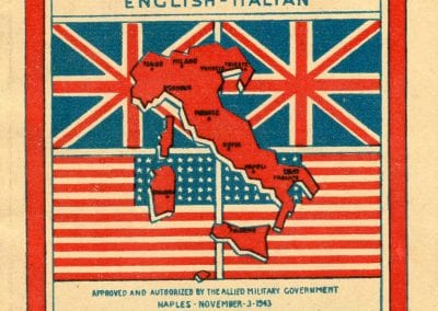 Cover of pocket dictionary with the American and British flags as well as an outline of Italy