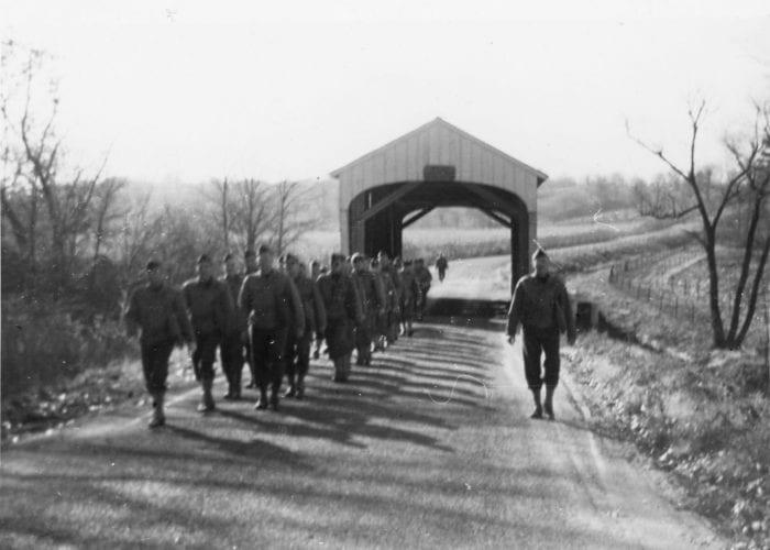 Men marching at Fort Benjamin Harrison