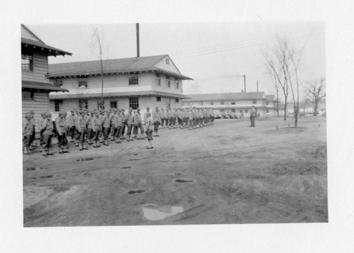 Men in formation at Fort Custer