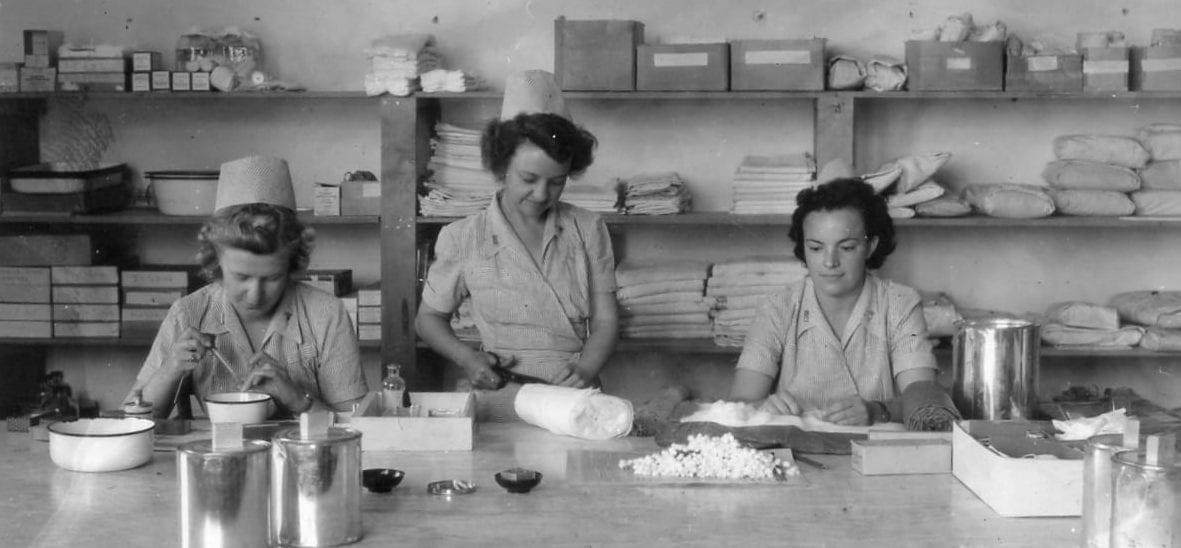 Nurses preparing supplies in Rome