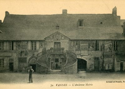 Vintage image of the town hall in Vannes